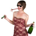 Drunk lady celebrating new years over white background Royalty Free Stock Photography