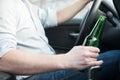 Drunk man driving car and falling asleep Royalty Free Stock Photo
