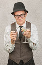 Drunk man with martini businessman holding and cigarette Royalty Free Stock Images