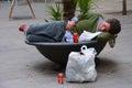 Drunk man sleeping Royalty Free Stock Photo