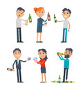 Drunk People with Alcohol Flat Vectors Set Royalty Free Stock Photo