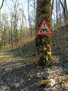 Drunk s on road hand made traffic sign in biksere latvia Royalty Free Stock Photography