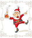 Drunk Santa Dancing Vector Cartoon Royalty Free Stock Photo