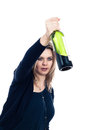 Drunk woman with bottle of alcohol Royalty Free Stock Images