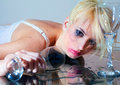Drunk woman with glass young drinking Royalty Free Stock Photography