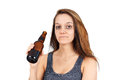 Drunk woman on white or alcoholic young with beer bottle Stock Images