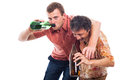 Drunken men two funny with bottle of alcohol isolated on white background Stock Image