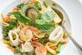The drunken noodles seafood spaghetti. Food taste of Thailand