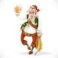 Drunken pirate with a glass of beer is based on the sword isolated white background Stock Image