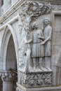 Drunkenness of Noah - architectural detail of column at Doge's Palace, Venice, Italy Royalty Free Stock Photo