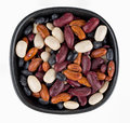 Dry beans in bowl isolated over white Royalty Free Stock Photo