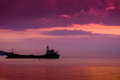 Dry Cargo Vessel On On The Sunset Royalty Free Stock Photo