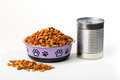 dry cat dog food in granules in cute bowl and wet canned food Royalty Free Stock Photo