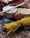 Dry Chinese egg noodles and ramen Royalty Free Stock Photo
