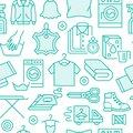 Dry cleaning, laundry blue seamless pattern with line icons. Laundromat service equipment, washing machine, clothing