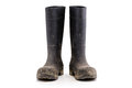 Dry dirty Mud boots isolated on white front view Royalty Free Stock Photo