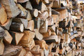 Dry firewood in a pile for furnace kindling Stock Image