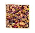 Dry fruit and nuts in ceramic tray isolated on white background Royalty Free Stock Photo