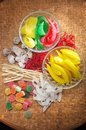 Dry Fruits and Candy Stock Photo