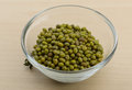 Dry green beans in the glass bowl Stock Image
