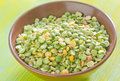 Dry green pea in the bowl Royalty Free Stock Photography
