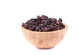 Dry Hibiscus in a wooden bowl Stock Photography