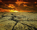 Dry landscape sunset on a hot Royalty Free Stock Photo