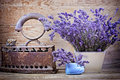 Dry lavender and vintage style rustic rusty iron Royalty Free Stock Photo