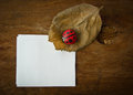 Dry leaf ladybird and paper on wooden background Royalty Free Stock Images