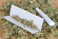 Dry marijuana buds photo of with joint Royalty Free Stock Photography