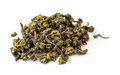Dry oolong tea leaves on white Royalty Free Stock Photography