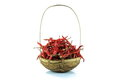 Dry red pepper in basket Stock Photos