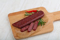 Dry salami Royalty Free Stock Photo