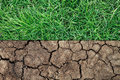 dry soil and green grass Royalty Free Stock Photo