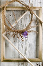 Dry wreath with purple crocus flower Royalty Free Stock Photo