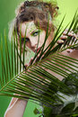 Dryad girl with fern Stock Photos