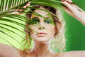 Dryad girl with fern Royalty Free Stock Photo