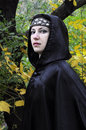 Dryad stare woman with diadem under black hood in the autumn forest Royalty Free Stock Photos