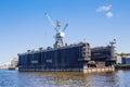 "Drydock of admiralty shipyards saint petersburg russia – july ""admiralteiskie verfi"" – a key enterprise shipbuilding a Stock Photo"