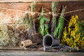 Drying herbs for tincture as alternative medicine on old wooden table Stock Photo