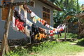 Drying laundry on bank of river in sorong papua barat indonesia Stock Image