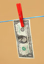 Drying of money after laundering hanging on string Royalty Free Stock Image