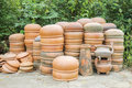 Drying pottery at the Thanh Ha village in Hoi An, Vietnam Royalty Free Stock Photo