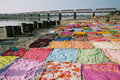 Drying sari, India Stock Images