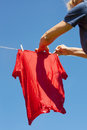 Drying of shirts in nice and sunny day Royalty Free Stock Photo