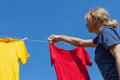Drying of shirts in nice and sunny day Royalty Free Stock Photos