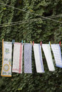 Drying towels on rope hanging kitchen leaves background Royalty Free Stock Images