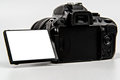 Dslr camera with flip screen for placement digital single lens reflex all logo and text removed blank photo or text Stock Images