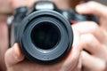 Dslr camera lens in black color Stock Photos