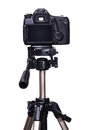 DSLR camera on tripod Royalty Free Stock Photo